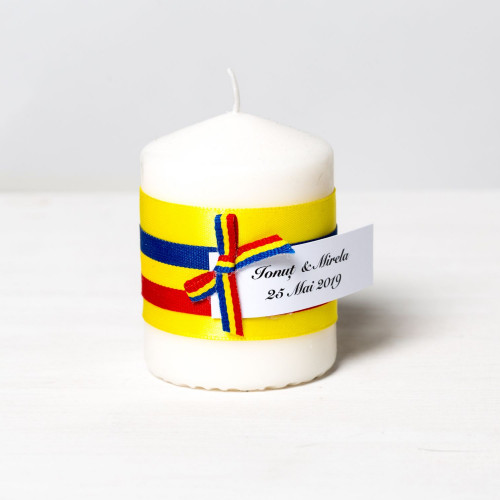 Marturii lumanari nunta steag tricolor