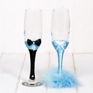Pahare nunta puf bleu pentru nasi
