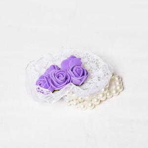 Corsaj margele buchet trandafiri lila si dantela