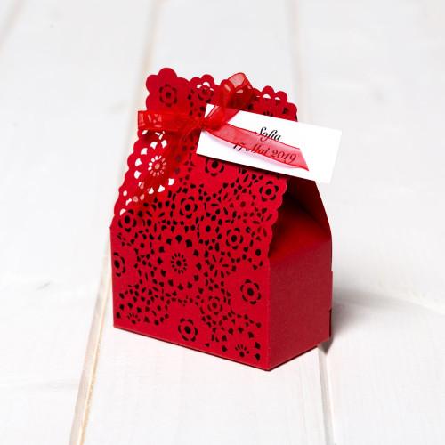 Marturii de nunta cutiute bordo flori