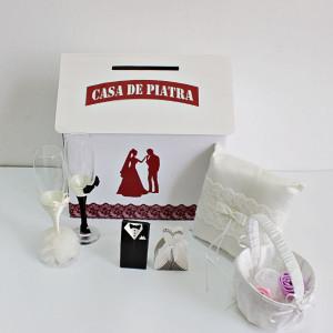Set accesorii nunta bordo