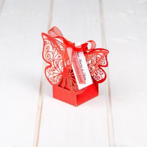 Marturii nunta cutiute fluture rosu
