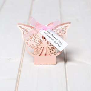 Marturii nunta cutiute fluture roz