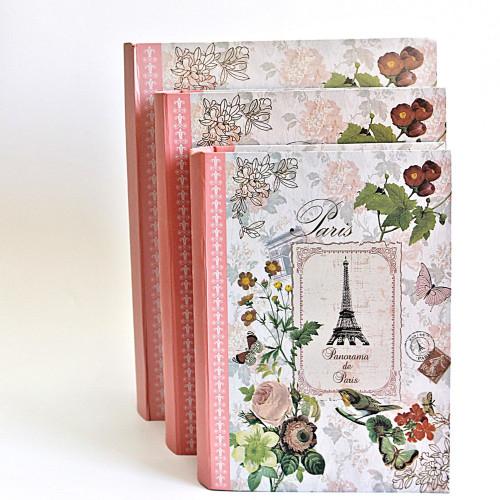 Set 3 cutii nunta Paris in forma de carte