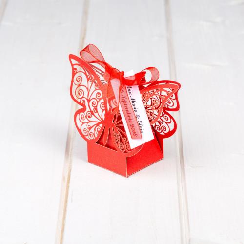 Marturii botez cutiute fluture rosu