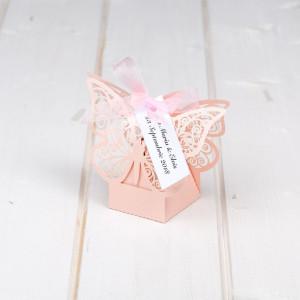 Marturii botez cutiute fluture roz