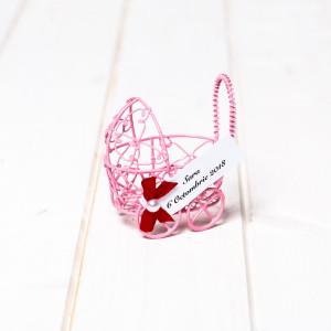 Marturii botez carucior sarmulita roz