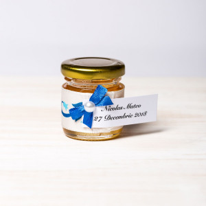 Marturii borcanele miere nunta banda floricele albastre
