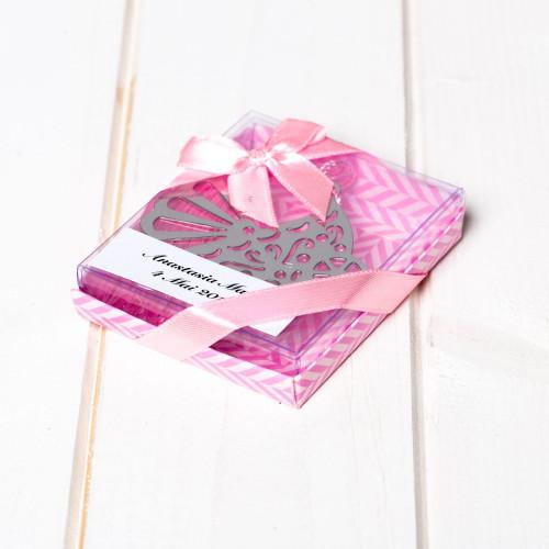 Marturii botez semn de carte carucior roz