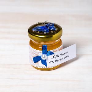 Marturii borcanele miere botez fluture albastru