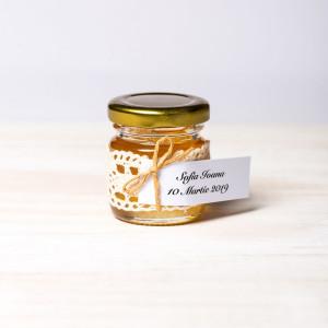 Marturii borcanele miere botez cu dantela si sfoara