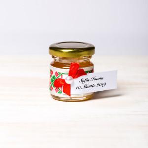 Marturii borcanele miere botez cu motive traditionale si fundita rosie