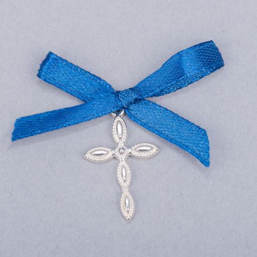 Cruciulite lacrima botez cu fundita albastra