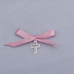 Cruciulite botez decupate cu fundita roz prafuit