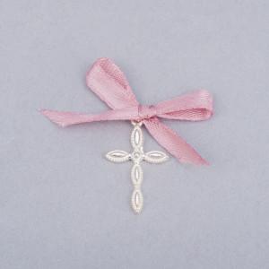 Cruciulite lacrima botez cu fundita roz prafuit