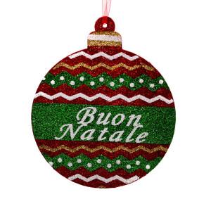Decoratiune glob brad cu sclipici Buon Natale