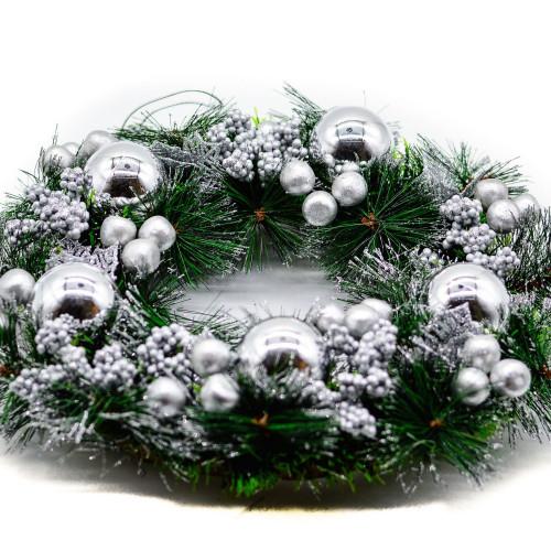 Coronita de Craciun cu decor argintiu