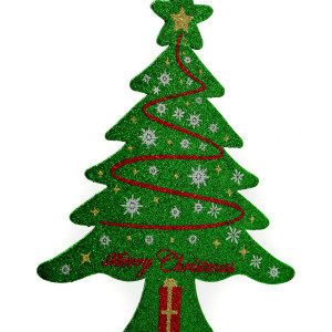 Brad verde cu sclipici Merry Chrismas