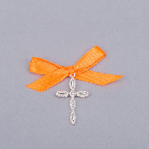 Cruciulite lacrima botez cu fundita portocalie