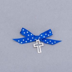 Cruciulite botez decupate cu fundita albastra si buline albe
