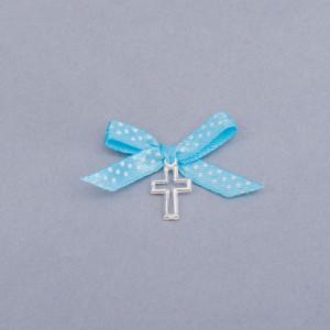 Cruciulite botez decupate cu fundita bleu si buline albe