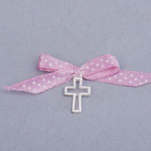 Cruciulite botez decupate cu fundita roz pudra si buline