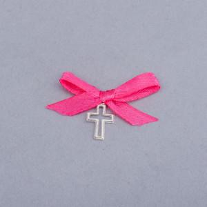 Cruciulite botez decupate cu fundita roz fucsia