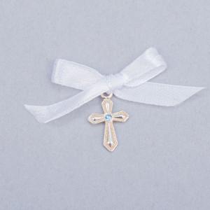 Cruciulite botez cu pietricica bleu si fundita alba