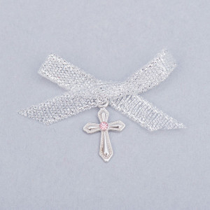 Cruciulite botez cu pietricica roz si fundita argintie