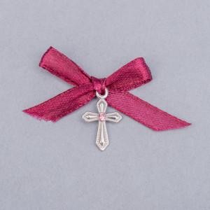 Cruciulite botez cu pietricica roz si fundita grena