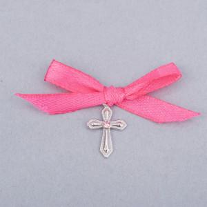 Cruciulite botez cu pietricica roz si fundita roz fucsia