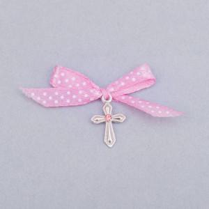 Cruciulite botez cu pietricica roz si fundita roz pudra cu buline