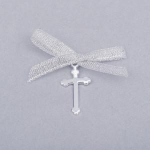 Cruciulite botez simple cu fundita argintie
