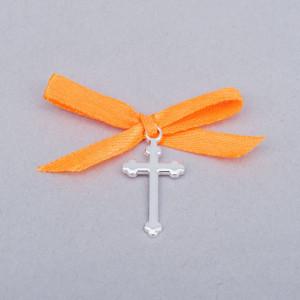 Cruciulite botez simple cu fundita portocalie