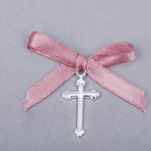 Cruciulite botez simple cu fundita roz pudra
