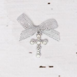 Cruciulite botez strass transparent si fundita argintie