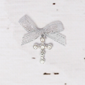 Cruciulite botez strassuri transparente si fundita argintie