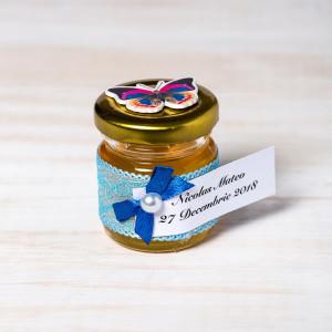 Marturii botez borcanele miere cu fluturas multicolor