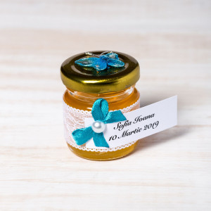 Marturii botez borcanele miere cu fluture turcoaz