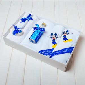 Trusou botez albastru cu buline Mickey Mouse