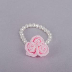 Corsaj margele cu trei trandafiri roz