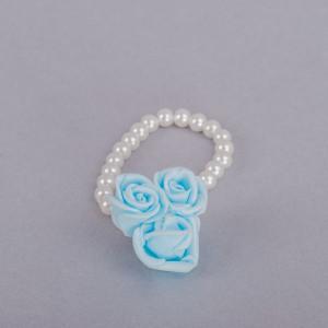 Corsaj margele cu trei trandafiri bleu
