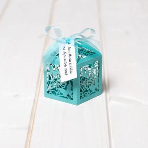 Marturii nunta cutiute laser cut cu fluturas bleu