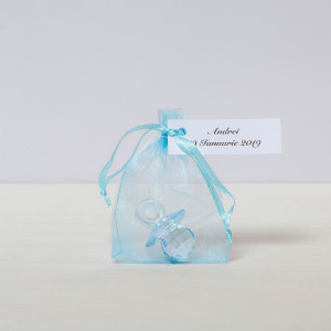 Marturii botez suzeta bleu plastic