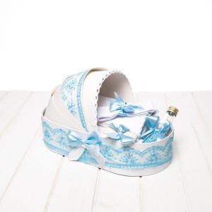 Trusou botez bleu cutie landou