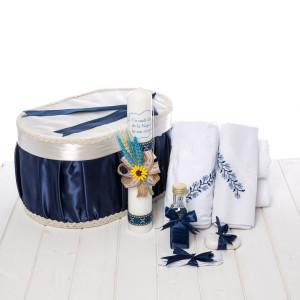 Set botez traditional cutie, trusou si lumanare baieti