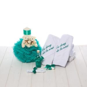 Set botez verde menta lumanare ursuleti si trusou Cu drag de la nasi