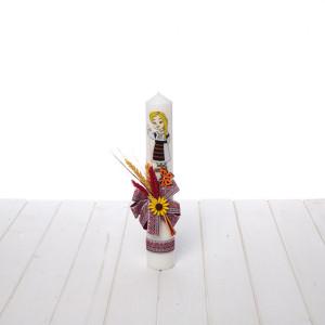 Set botez traditional trusou si lumanare cu tarancute, floarea-soarelui si tricolor