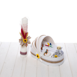 Set botez popular lumanare si trusou tricolor, spice de grau, iuta si floarea-soarelui