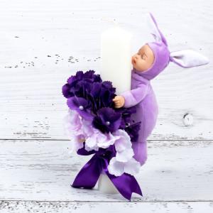 Lumanare botez cu flori mov si bebelus lila